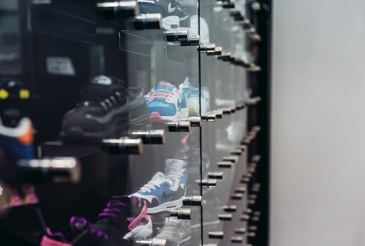 retail display attached to a mezzanine floor staircase in JD sports Birmingham